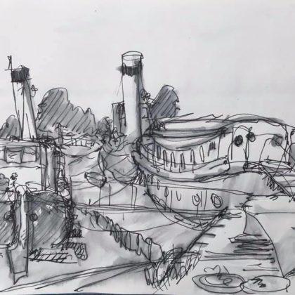 Griselda Mussett - Boats at Maldon -