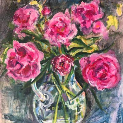 Griselda Mussett - Glass vase with peonies -