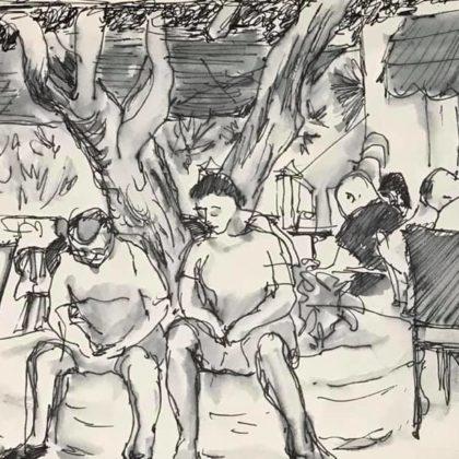 Griselda Mussett - Paderi Bar courtyard, Muravera -