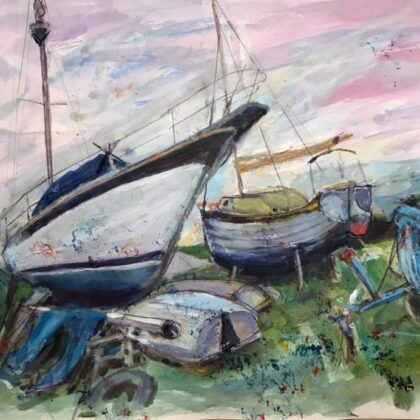 Griselda Mussett - Yacht Club   Mixed Media 28 x 20 cm £75 -